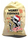X-Large Cotton Drawcord Christmas Santa Sack With Funny Merry Fishmas Fisherman Angling Motif